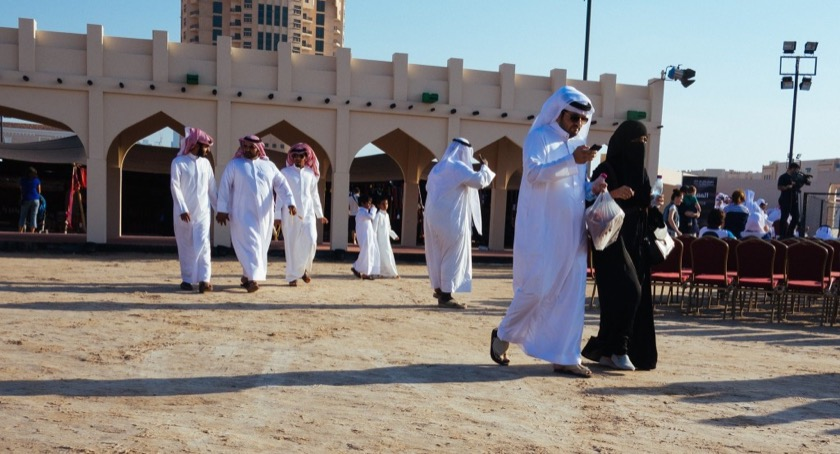 Traditional dress at a sheep and goat festival in Doha