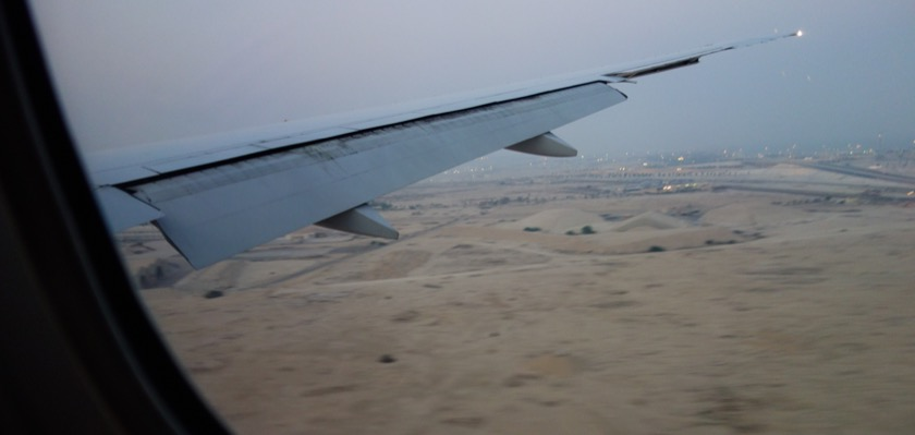 Landing at the old airport in Doha, looking east.