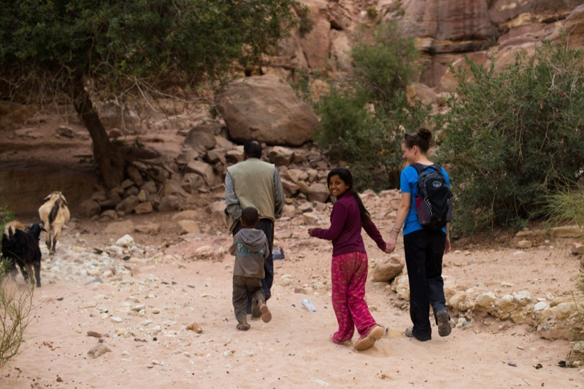 We wandered up a canyon and met a Bedouin family who invited us to share tea.