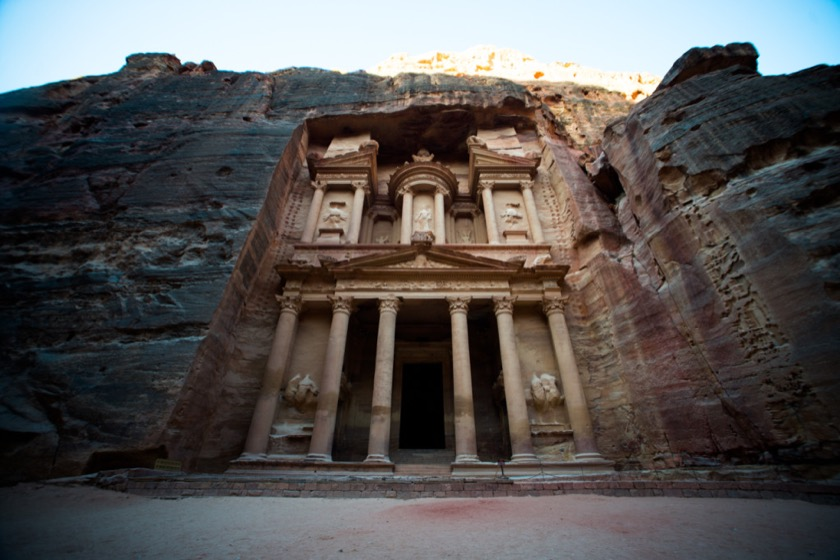 This is Al Khazneh (The Treasury, in English). You probably recognize it from an Indiana Jones movie.