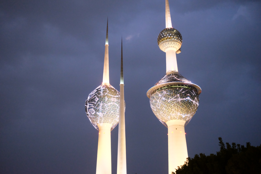 Used as target practice by the Iraqis during desert storm, the Kuwait Towers house a restaurant, an observation deck, and a 1.2 million gallon water tank.