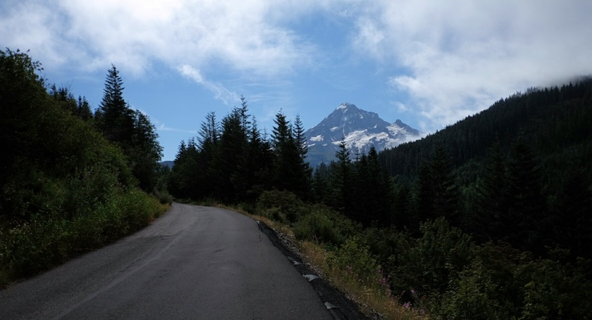 Looking back at Mount Hood from Lolo Pass.