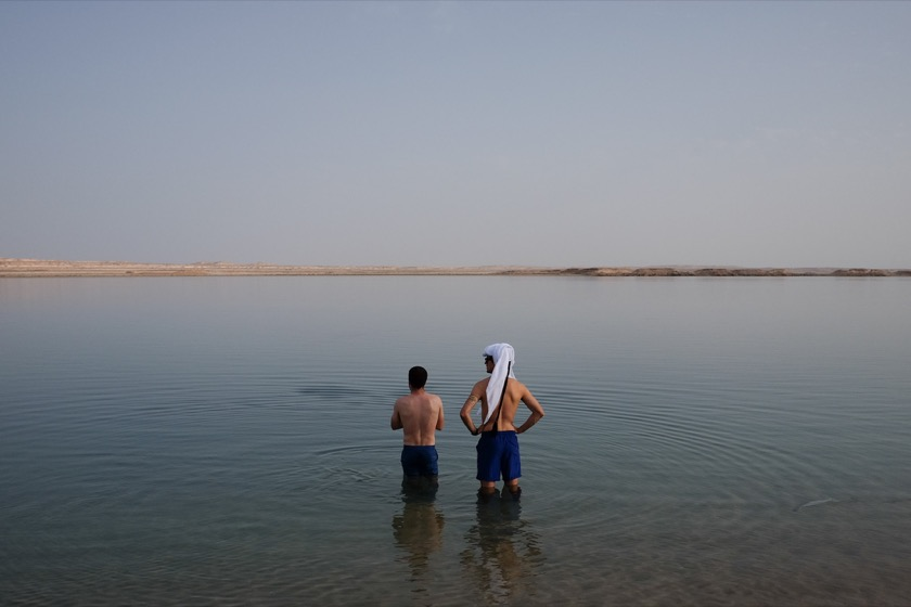Me and Jake, wading into the Inland Sea. That's Saudi Arabia on the other side of the water, just 1,500 feet away.