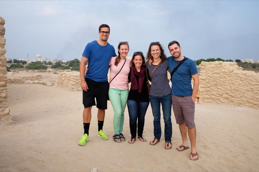 Jake, Bethany, Danieal (who flew into Manama to meet us), Rachael, and me.