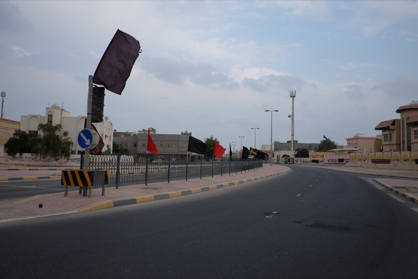 Several of the suburbs we drove through in Bahrain were decorated with these red and black flags which apparently mark the Shia neighborhoods of the country. Regardless of the meaning, seeing black flags waving in the wind is a little unnerving.