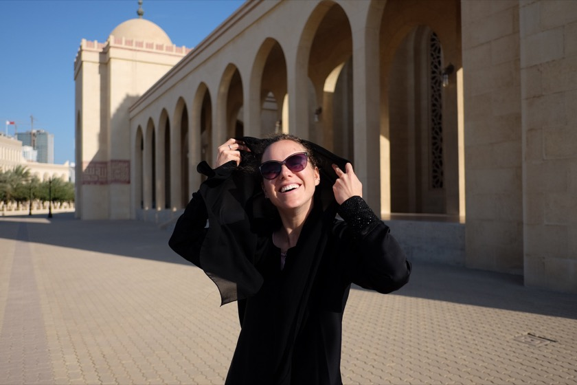 Rachael wore her abaya and hijab at the mosque and at the Saudi border crossings.