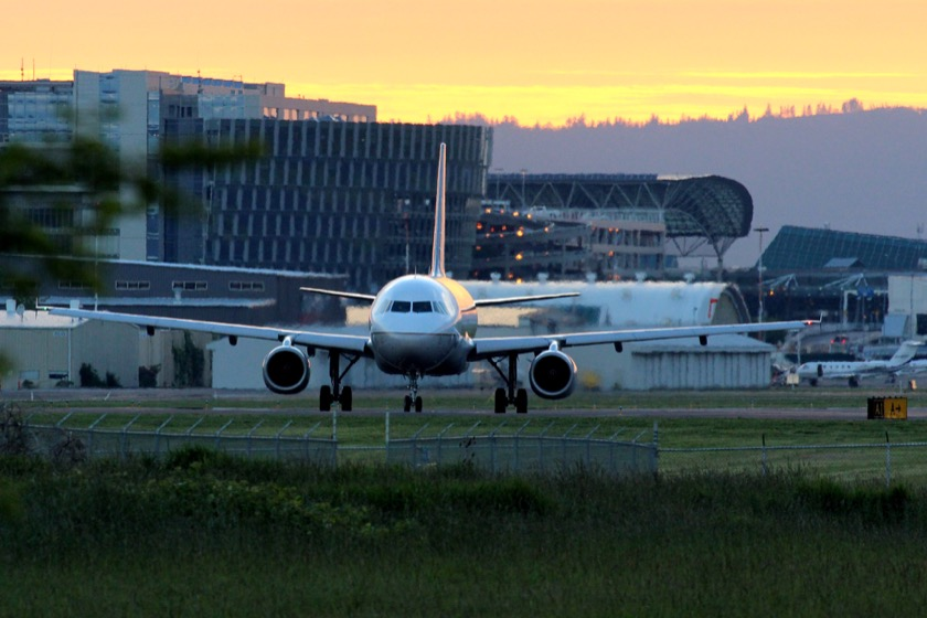 A plane at Portland International Airport. Photo by Eric Prado.