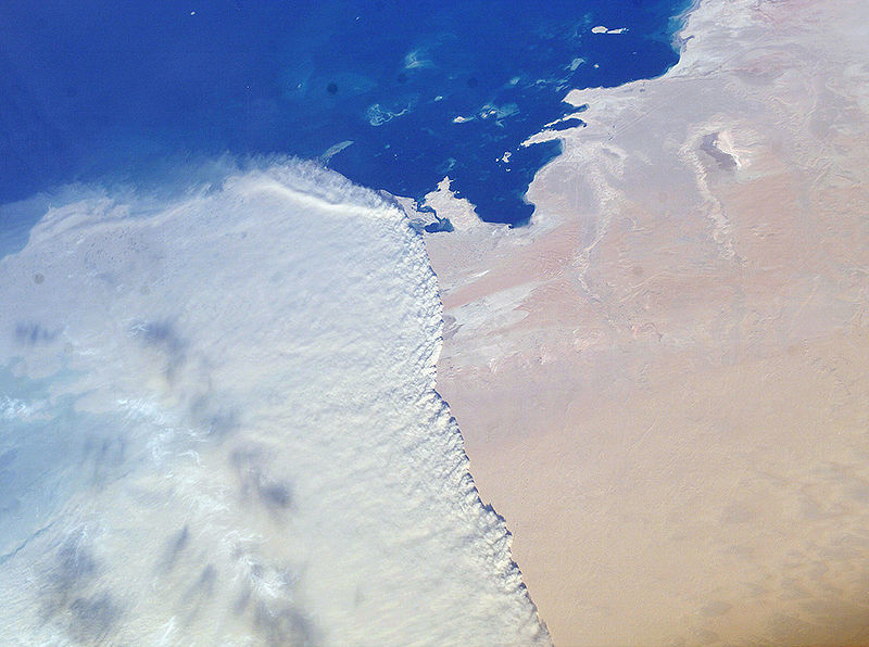 A photograph taken from the International Space Station shows a sandstorm sweeping across Qatar. North is to the left.