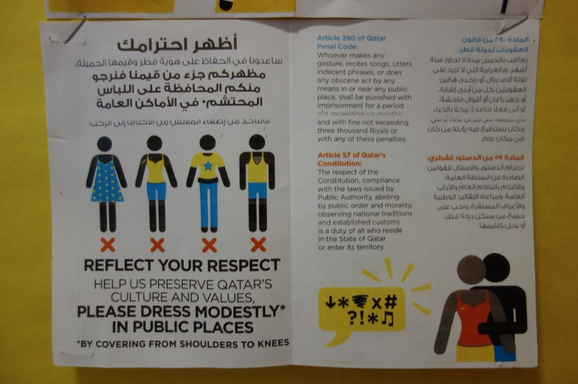 Part of a pamphlet which encourages foreigners to dress modestly. This one was put up at our school.