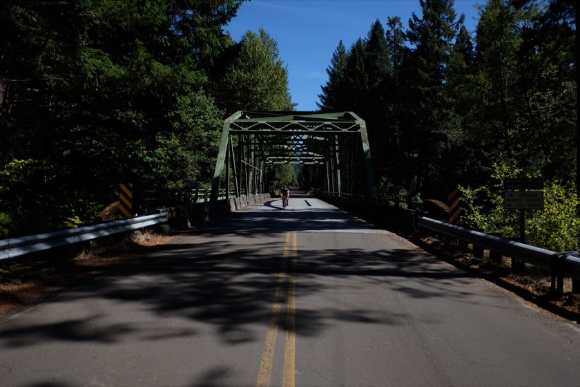 We rode the Aufderheide Highway (also known as Forest Service Road 19) from West Fir up to the McKenzie River. Nearly all of our riding today was on paved roads.