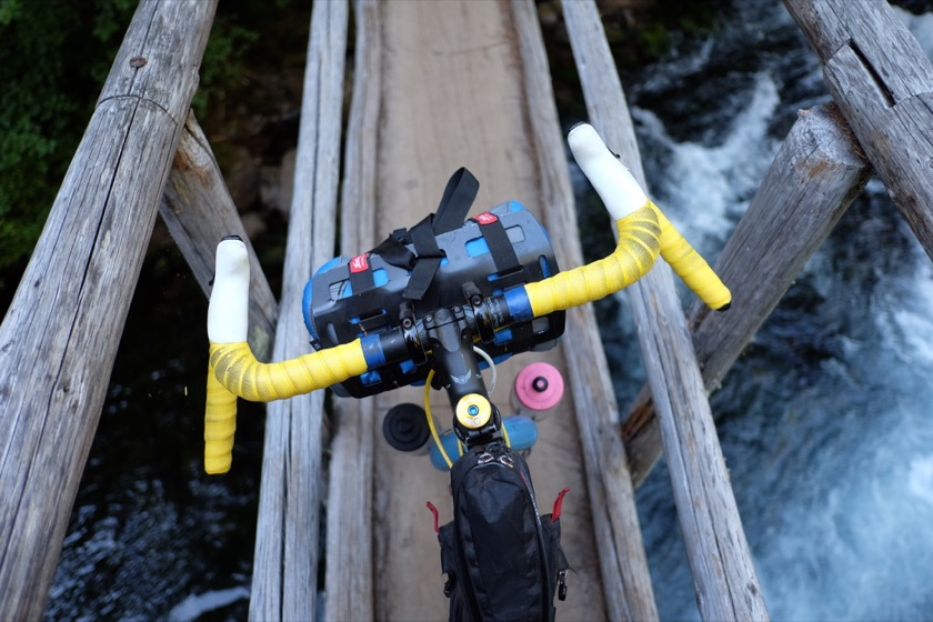 My cockpit crossing one of the McKenzie River Trail's many narrow bridges.