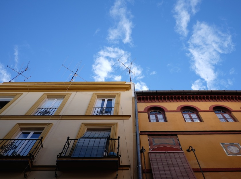 Looking up on the streets of Sevilla in southern Spain.
