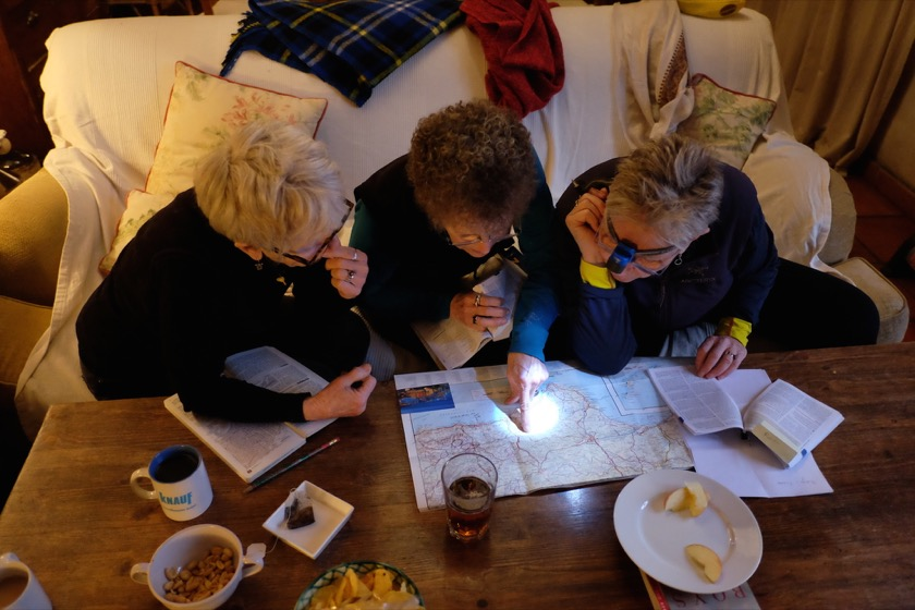 Jane, Suellen, and Joan, planning in the house we rented outside Granada.