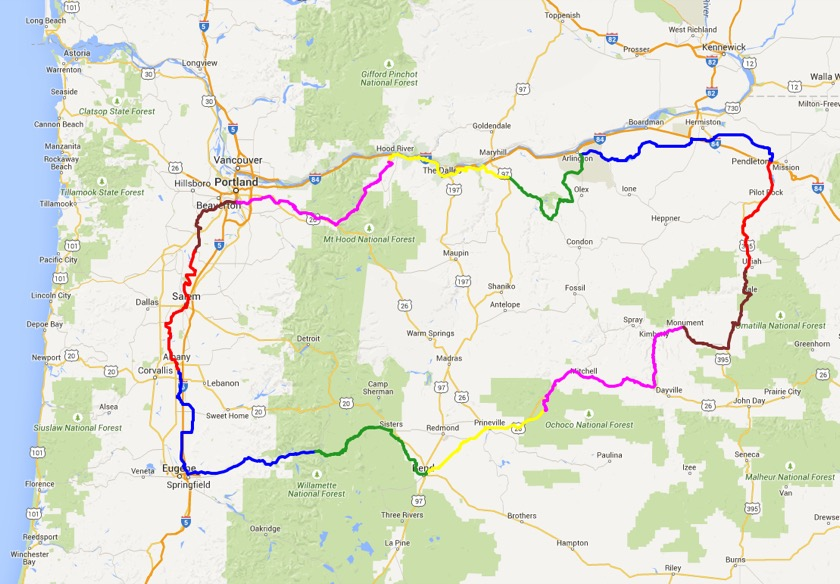 A rough map of the route I plan to ride this summer.