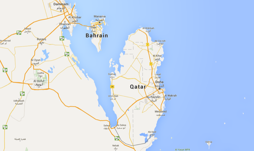 It's a five hour drive from Doha, Qatar to Manama, Bahrain, not including border crossings.