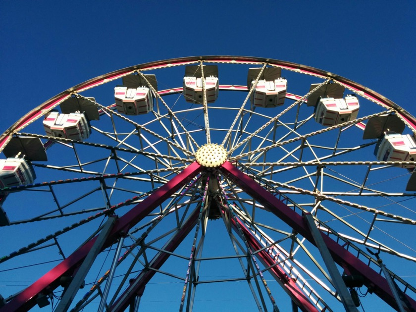The ferris wheel at the St. Paul Rodeo. Kjerstine and Claudia and Frank are up there somewhere.