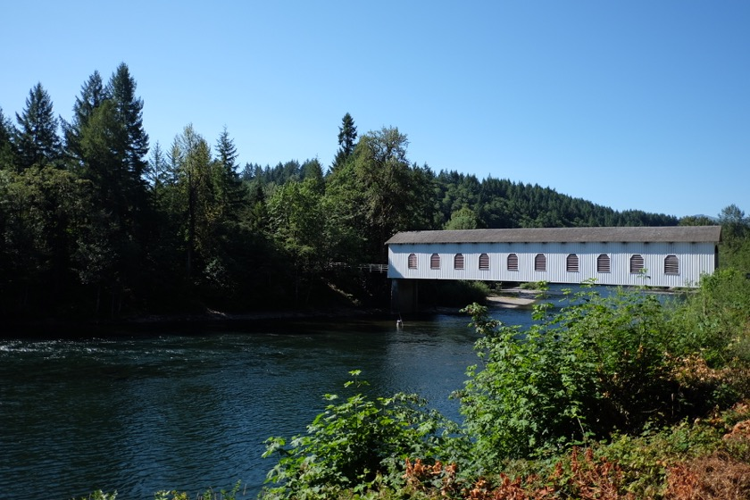 A covered bridge over the McKenzie River.