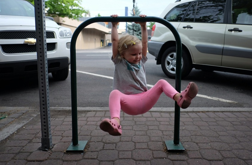 This bike rack in downtown Bend doubled as a Piper-sized pull up bar.
